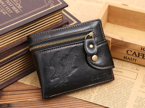 Picture of Fashion Men's Leather Cowhide Bifold Wallet Id Credit Card Holder Coin Purse Bags Handbags Color Black