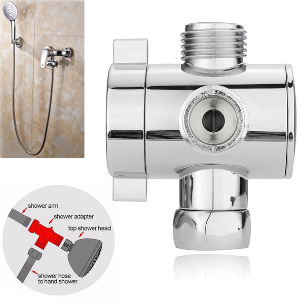 Picture of 1pc 1/2'' 3-way T-adapter Bath Adjustable Shower Head Arm Mounted Diverter Valve New