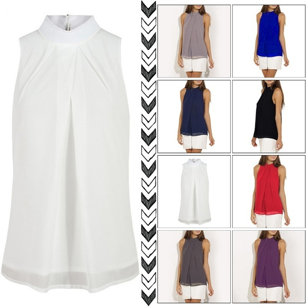 Fashion Women Casual Chiffon Blouse Sleeveless Shirt T-shirt Summer Blouse Tops