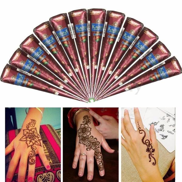 Hot 100 Fresh Natural Henna Mehndi Hand Made Tattoo Paste Pen Cones Body Art Tool