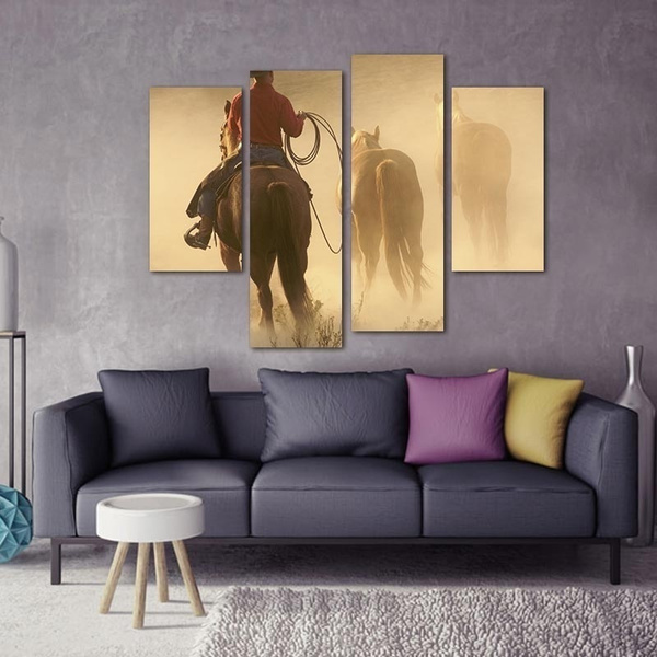 Wish | 4 piece Modular Canvas Photo Prints Cowboy with Horses Wall ...