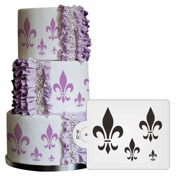 photograph regarding Fleur De Lis Stencil Printable named Fleur de Lis Cake Stencil Fondant Cake Decorating Device,Cupcake Stencil Template Clic Cake Aspect Stencil Decoration