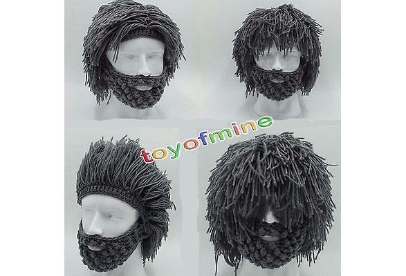 a1e0b84f4c1 Mens Boys Funny Wig Beard Hats Hobo Mad Caveman Winter Knit Warm Hat  Beanies