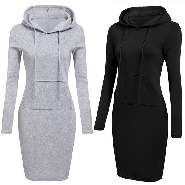 slim dress, shorthoodiedres, hooded, Sleeve