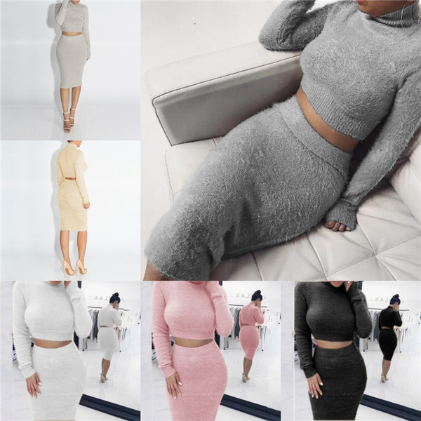 Women Sweater Skirt Set Winter Long Sleeve Cropped Top Pencil Skirt Knitted Suit