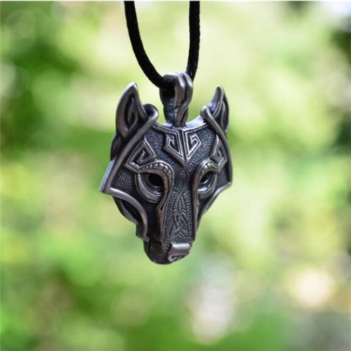 Norse Vikings Pendant Necklace Norse Wolf Head Necklace Original Animal Jewelry Wolf Head Necklace