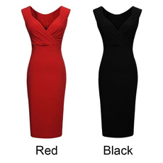 Deep V-Neck, slim dress, pencil, Evening Dress