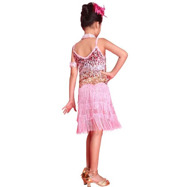 987815795009 Wish | Hot Girls Latin Dance Tango Sequin Dancing Children Girl Fairy  Dresses Costume New ZT7