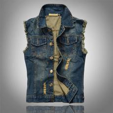 mensdenimvest, jeansvest, Plus Size, sleevelessjeansvest