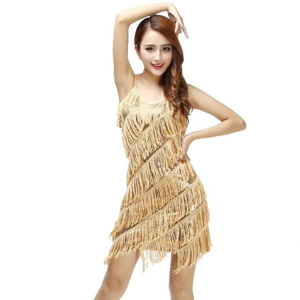 1e24f6e0afa00 Sexy women stunning flapper fringe 1920s gold vintage great gatsby  charleston sequin party latin dance dress plus size