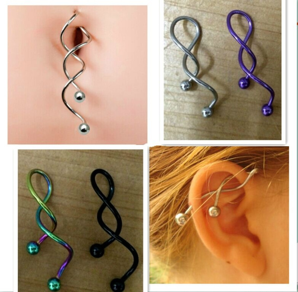 Spiral Twist  Belly Button Rings Navel RingBody Piercing Rings 14g  Belly Ring