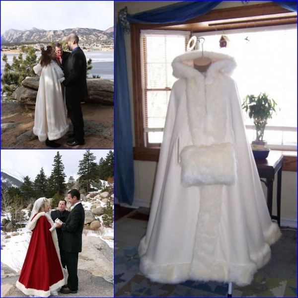 Ivory, hooded, fur, Bridal wedding