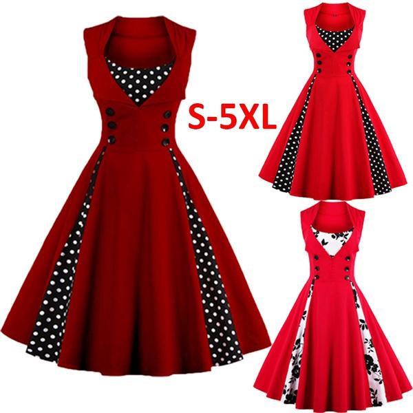 Plus Size S-4XL 50S 60S Vintage Dresses Women s Retro 1950s Style Polka Dot  Print Rockabilly Party Vintage Dress