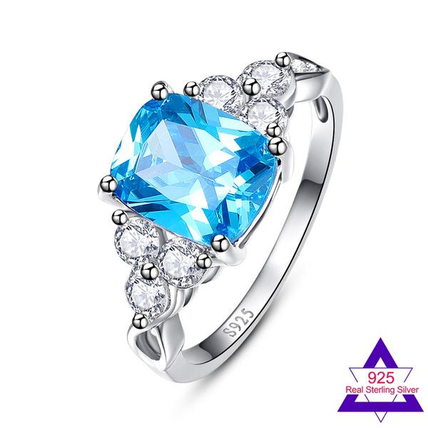 Blue Tanzanite & White Topaz Gemstone Jewelry Fashion Silver Ring Size 6 7 8 9