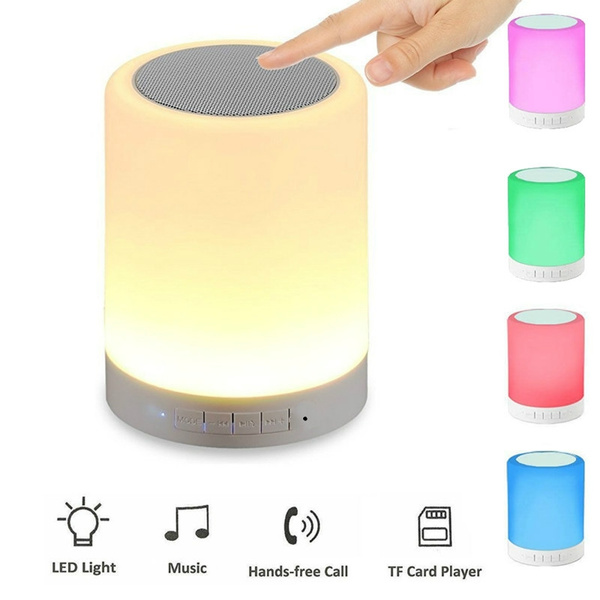 Picture of Peoplebuy Smart Music Lamp Bluetooth Speaker 7 Colors Led Lights Wireless Portable Subwoofer With Mic Tf