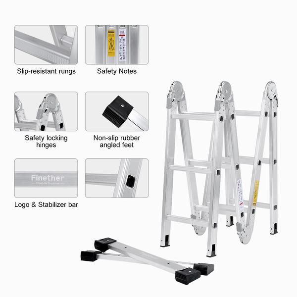 Wish | (FOLD LADDER) Finether 12.1 ft 3.68 m EN131 Scaffold ...
