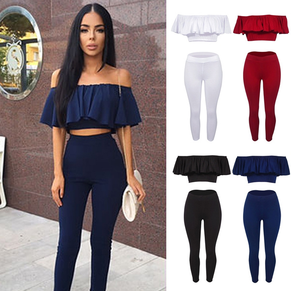 Women Fashion Sexy Strapless Jumpsuit Solid Color Falbala Two Piece Suit