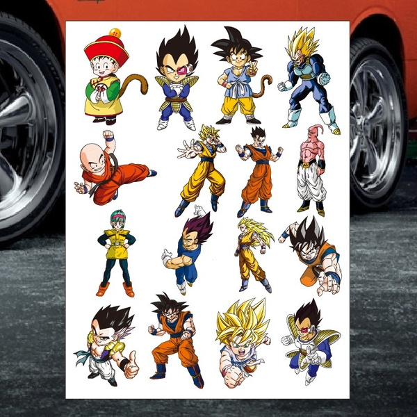 Wish 16 pcs dragon ball z decal car sticker truck car window bumper sticker for large kit motocross motorcycles bike skateboard