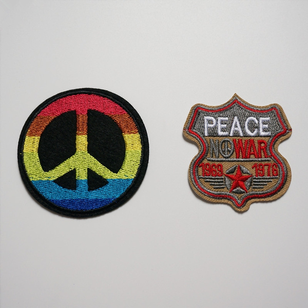 Peace Symbol Embroidered Iron On Sew On PatchBadge For Clothes Bags etc