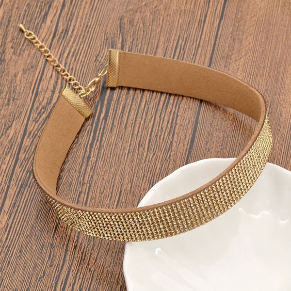 Elegant Gold Velvet Full Crystal Necklace Choker Chunky Bohemia Rhinestone Silver Punk Short Collar Necklaces Women Ladies Girl Jewelry Gifts Fashion Fine Accessories