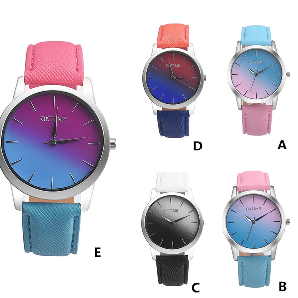 Retro Rainbow Design Leather Band Analog Quartz Wrist Watch.