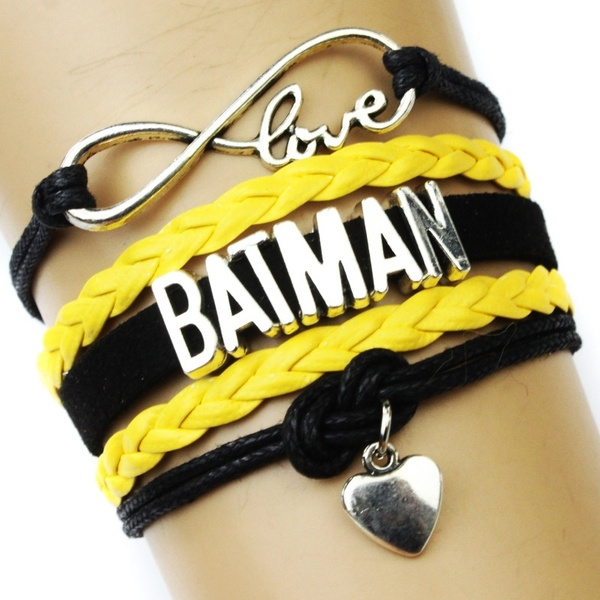 Picture of Infinity Love Batman Bracelet Heart To Heart Charm Black Gold Wax Suede Leather Bracelet