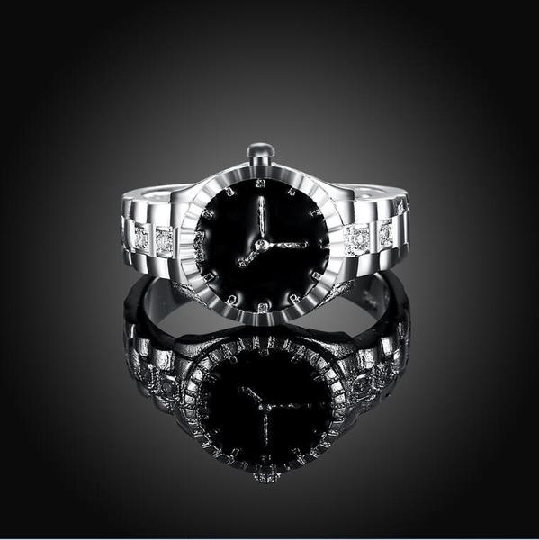 Fashion Women Mens Dial Quartz Analog Watch Creative Steel Cool Elastic Quartz Finger Ring Watch (Size: 7, Color: Silver)