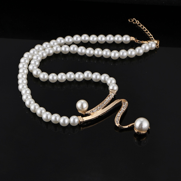 Classic Personality Casual Crystal Pearl Necklace Earrings Bracelet Gold White Jewelry Set Elegant Party Wedding Women Girl Gifts Prom Unique Casual Accessories (Color: Gold)