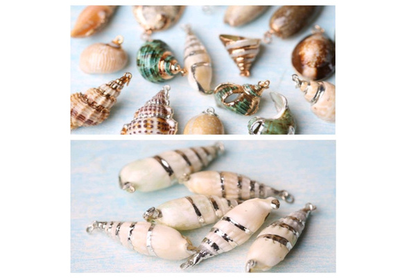 Phenovo Gilding Silver Conch Shell Beads Pendants Charms for Jewelry Making Crafts