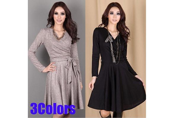 Women's Fashion A-Line Dress Solid Color Cotton Autumn Long Sleeve Slim Vestido Femininos