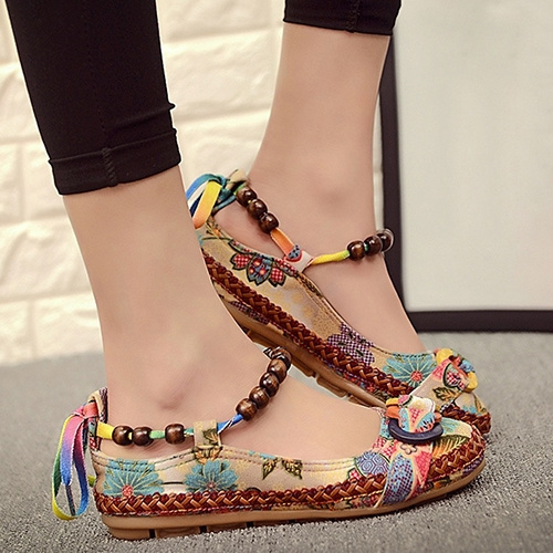 Picture of Women Ethnic Lace Up Beading Round Toe Comfortable Flats Colorful Loafers Shoes