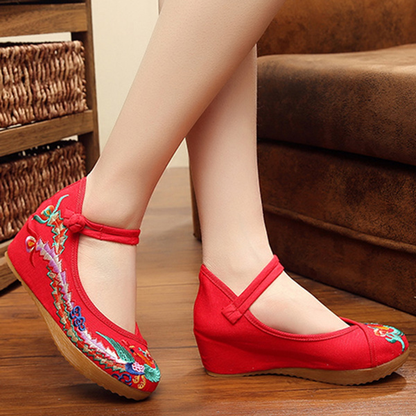 Picture of Retro Phoenix Pattern Womens Fashion Casual Soft Sole Comfortable Embroidered Shoes