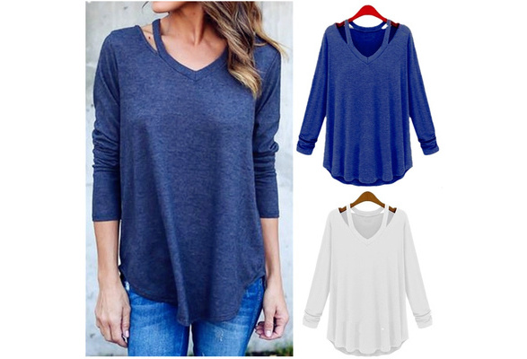 Fashion Women's Casual Long Sleeve V-Neck Cotton Tee Tank Top Shirt Blouse