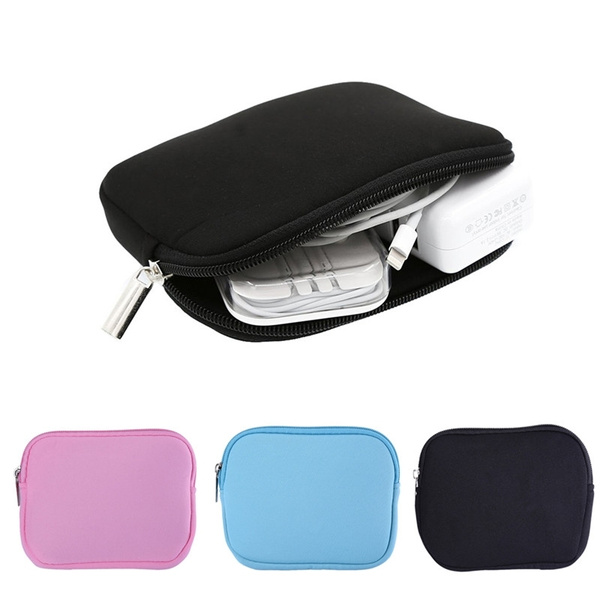 Picture of Earphones/charger Power Bag Laptop Sleeve Notebook Adapter/mouse Case Bag Pouch Black Blue Pink