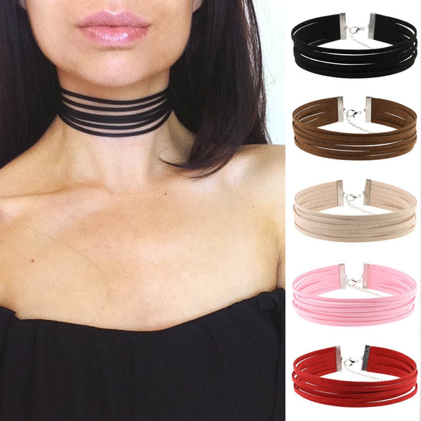 Picture of Suede Multi-layer Choker Necklace Leather Gothic Velvet Chokers Bohemia Punk Jewelry