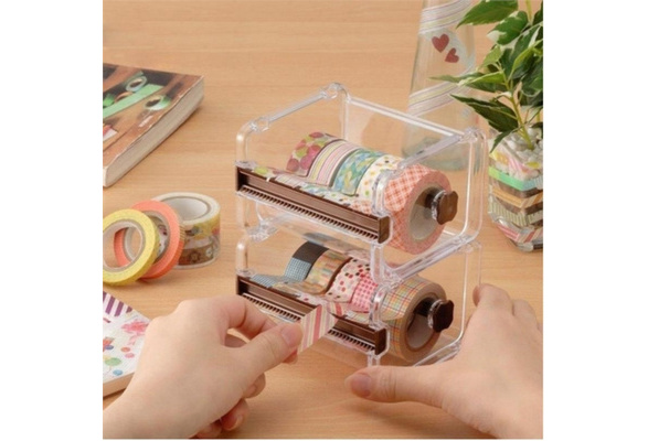Fashion High Quality Desktop Tape Dispenser 8 Colors Color Tape Washi Tape Dispenser Roll Tape Holder Transparent Multifunctional Colorful Tape Cutter Office School Supplies Accessories