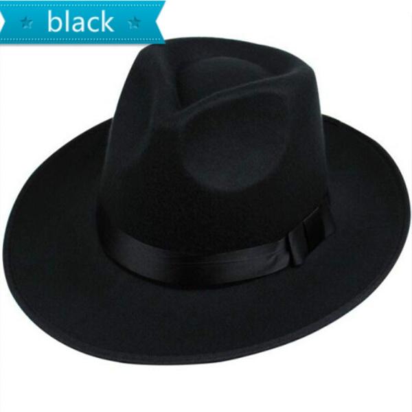 74a43911e6775 Superstar Chain PU belt wool wide brim black fedora Girl Floppy summer hat  for women large brim men top hat