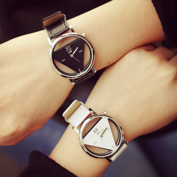 Picture of Couple Watches Tables Fashion Harajuku Spell Color Analog Big Dial Men Women Triangle Watch Dress Clock