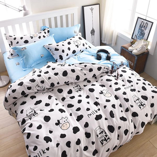 Dairy Cow Pattern Bed Pillowcases Duvet Cover Set Quilt Cover Set