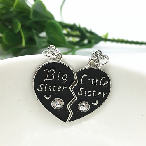 Wish 1 pair sisters pendants long chain necklace broken heart 24 6 aloadofball Choice Image