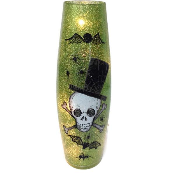 Wish Tall Green Glitter Glass Lighted Vase Skull