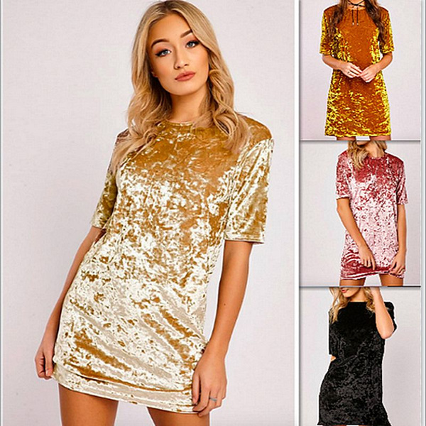 Picture of Velvet Leisure Short Sleeve Dress Colorpink Yellow Gold Black Size S M L Xl
