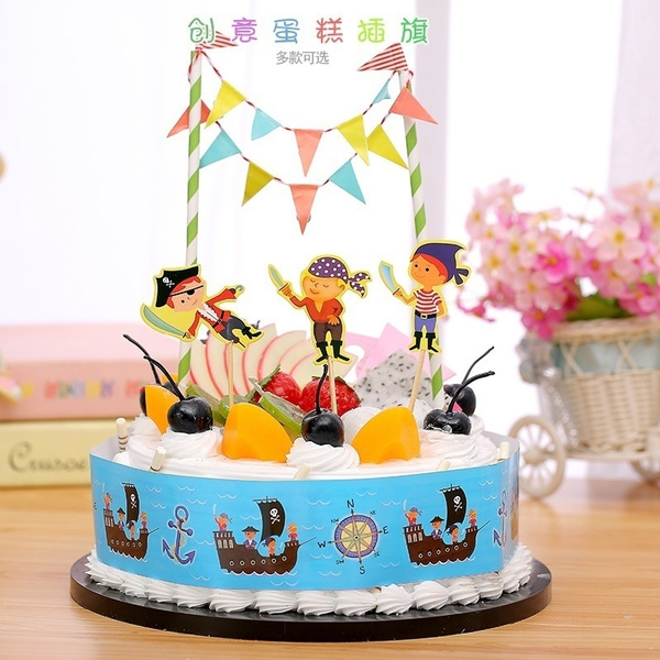 Wish 7 Styles Happy Birthday Popular Diy Cake Flag Cartoon