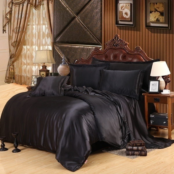 Wish | Home Decor Silk Quilt Black Satin Sheets Bed Linen Cotton Solid Satin  Duvet Cover Set King Size Bedsheet 4pcs Of Bedding Sets