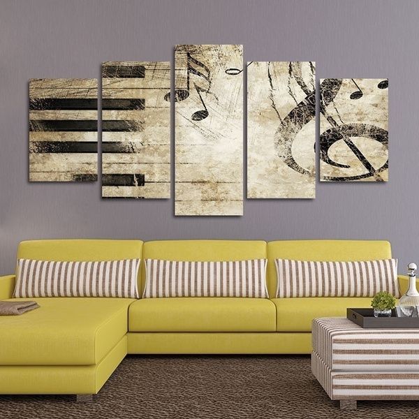 5 Panels Usa Design For Home Decor Canvas Prints Creative Piano Keys Music Notes Wall Painting Art Picture