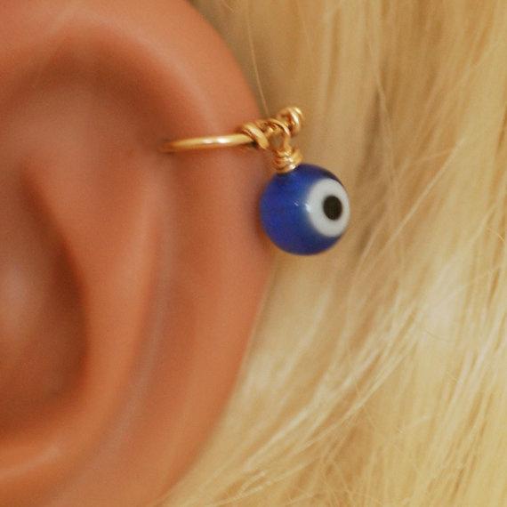 Handmade Stainless Steel Evil Eye Helix Hoop Earrings Cartilage