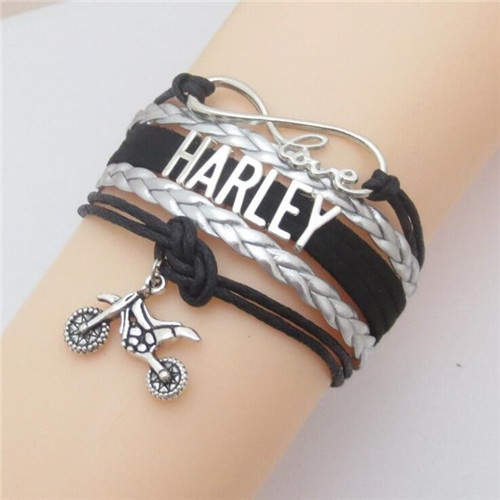 Infinity Love Harley Motorcycle Wrapped Leather Bracelet with Silver-plated Charms