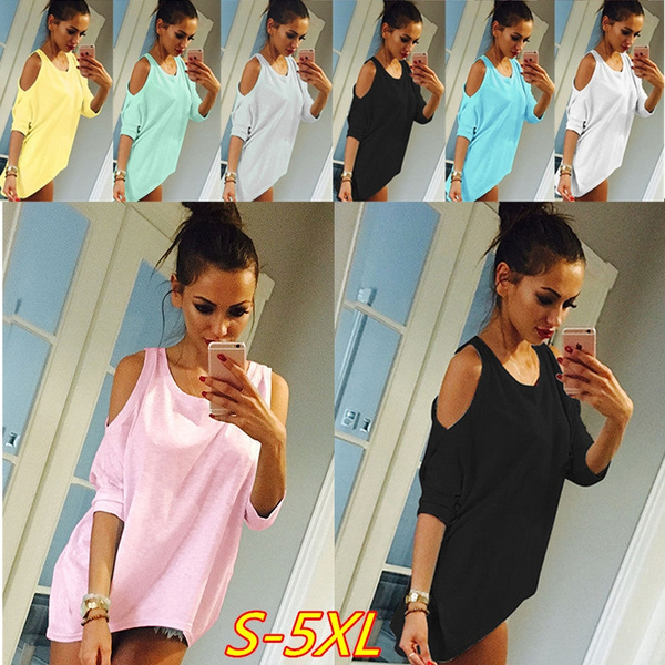 Picture of Sexy Woman Fashion Pure Color Simple Irregular Dew Shoulder T-shirt Shirtblack Green Grey Yellow Pink White