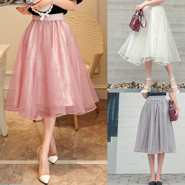 eafcb6a426 Plus Size New Puff Women Chiffon Beaded Tulle Skirt Gray Pink Ivory Black  Faldas High Waist Midi Knee Length Chiffon Plus Size Grunge Jupe Female  Tutu ...