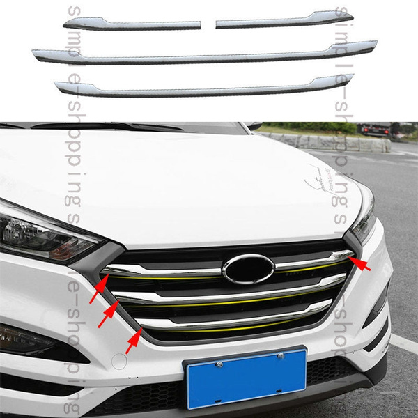 4pcs Stainless Front Radiator Grill Cover Garnish Trim For Hyundai Tucson  16-17
